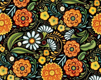 Floral Fabric - All Over Floral - Hey Diddle Diddle - In The Beginning Julie Paschkis 3JPJ1 Orange - Priced by the 1/2 yard