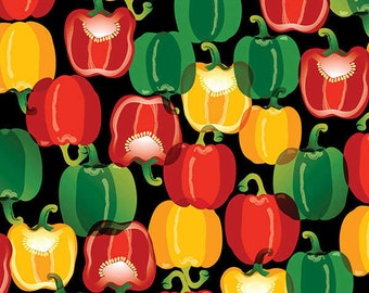 Bell Pepper Fabric - Toss & Serve from Maria Kalinowski for Benartex 6414B 12 Black - Priced by the 1/2 yard