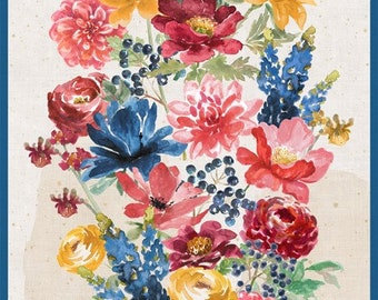Garden Charm - Floral Panel - Watercolor Flowers - Beth Grove for Wilmington Prints - 83301 143 - Priced by the 24-Inch Panel