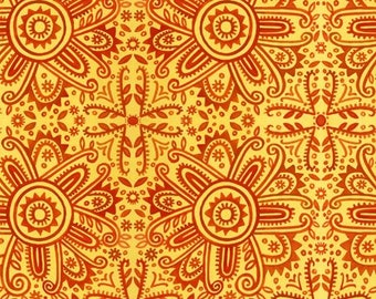 Woodcut Floral - Sunburst - Hey Diddle Diddle - In The Beginning Julie Paschkis 10JPJ1 Red / Yellow - Priced by the 1/2 yard