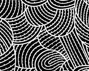 Australian Fabric - Body Painting - Black White Fabric  - Aboriginal Fabric - Anna Pitjara - Priced by the half yard