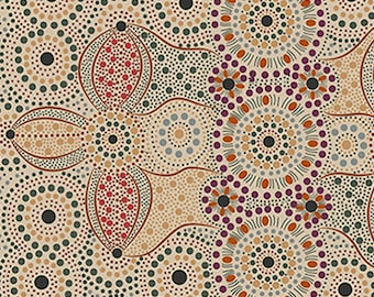 Australian Fabric - Corroboree Gathering - Aboriginal Fabric - Spirit Place Ecru by Bernadene Wallace - Priced by the half yard
