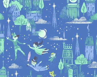Neverland Fabric, Peter Pan - Jill Howarth for Riley Blake - 6570 Blue Main - Priced by the half yard