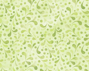 Leaf fabric - Tonal Swirl - Ajisai collection - In The Beginning Jason Yenter 6AJI6 light green - Priced by the 1/2 yard