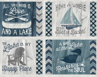 "Boat Fabric - Sailboat Canoe Fish - A Day at the Lake - Laura Marshall - Wilmington -59101 949 Blue Gray - Panel 24""x44"""