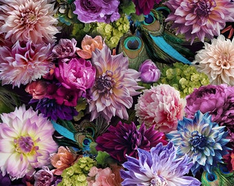 Proud as a Peacock - Dahlia and Bird Print - Digiprint Fabric Hoffman Q4511H-453 - 45-inch width - Priced by the 1/2 yard