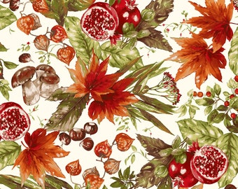 Fruit Fabric - Pomegranate Leaf Maywood Studio Bountiful  - MAS 9300 E Cream - Priced by the 1/2 yard