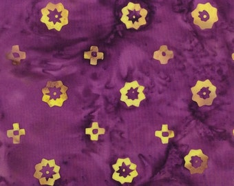 Floral Sprocket Batik Fabric - Artisan Indonesian from Majestic Batiks - D309W - Purple, Priced by the 1/2 yard