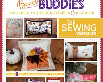 Bench Buddy - Autumn Months KD 193 - SEWING Version -  Kimberbell Designs - DIY Project - Pillow forms sold separately