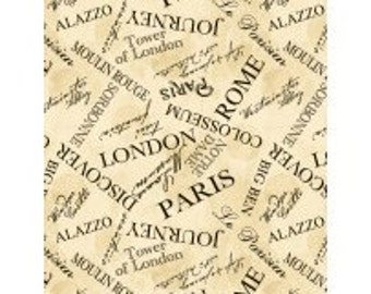 Paris, Rome, London Fabric - Ticket in Hand - Tossed Words by Cynthia Coulter - Wilmington 42392 199 Ivory/Cream - Priced by the Half Yard