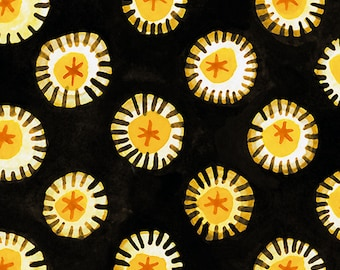 Floral Fabric - Daisy Fabric - Hey Diddle Diddle - In The Beginning Julie Paschkis 7JPJ1 Black Yellow - Priced by the 1/2 yard