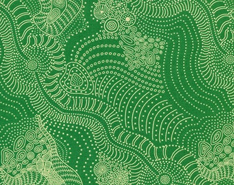 Australian Fabric - Dreamtime River - Riverbed Green  - Aboriginal Fabric - Anna Pitjara - Priced by the half yard
