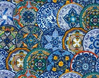 Fiesta Plate Fabric - Plate Fabric - Geometric Floral Fabric - Fiesta - Elizabeth Studio Fabric - 109 Blue - Priced by the half yard