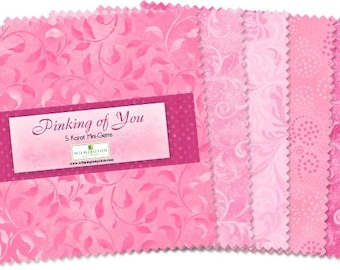 Wilmington Prints Essentials Pinking of You - 505-11-505  5-Inch 24 Squares Mini crystal charm pack - Assorted Pink with duplicates