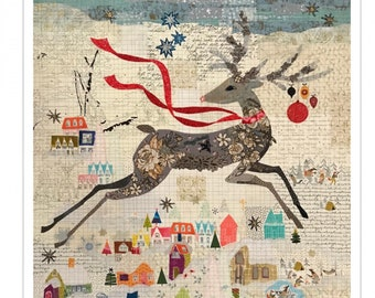 "Reindeer Collage - Laura Heine - Applique Quilt - Peppermint Deer Collage 35""x35"" - DIY Pattern Or Kit Option - full size reusable template"