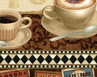 Coffee Fabric - Coffee Break Fabric Repeating Stripe by South Sea Imports Q1680-74017-123S - Priced by the 1/2 yard