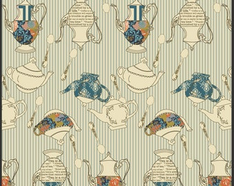 Tea Pot Fabric - Tea Delights Jam from Splendor 1920 by Bari J for Art Gallery SPL 40014 Gray - Priced by the 1/2 yard