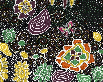 Australian Fabric - Summertime Rainforest black - Aboriginal Fabric - by Heather Kennedy - Priced by the half yard