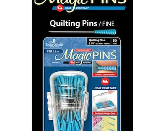 Quilting Pins - Magic Grip, Heat Resistant, Comfort Grip - 1-3/4-inch Fine .5mm x 45mm - 50ct  - Taylor Seville 19560