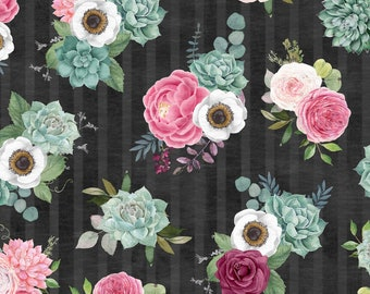 Botanical Oasis - Floral Bouquet - By Anne Rowan for Wilmington Prints - 3007 68517 913 Black - Priced by the Half Yard