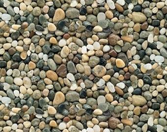 Pebble Fabric - River Rock Fabric - Landscape Medley, Elizabeth's Studio - 291 Gray Tan - Priced by the Half Yard