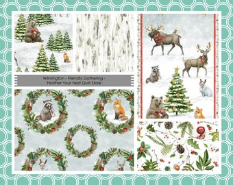 Forest Animal, Winter, Christmas - Friendly Gathering, Michael Davis, Wilmington Fabric -  Holiday Bundle Pack