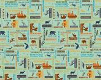 National Parks List - Anderson Design Group for Riley Blake C8784 - Seagreen (pale green) - Priced by the 1/2 yard