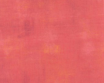 Pink Textured Fabric - Salmon Grunge by BasicGrey for Moda Fabrics 30150 250 Medium Pink - Priced by the 1/2 yard