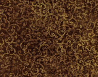 Scrollscape Fabric - Blender Fabric Oasis Dan Morris for Quilting Treasures - 24362 A Espresso Dark Brown  - Priced by the Half Yard