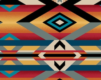 Serape Blanket Fabric - Wild Wild West - Art Loft for Studio E - 5354 89 Multi Red - Priced by the Half Yard