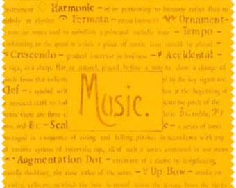 Music Fabric - music terms - Fabric With Words, Text Fabric, Word Fabric, Rhapsody by Frond Designs 107-04-3 Sun Priced by the 1/2 yard