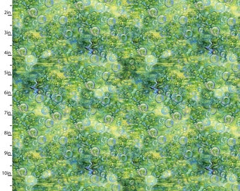 Mystic Ocean - Seaweed Bubbles - Fabric Edition 3 Wishes - 14608 Green - Priced by the 1/2 yard