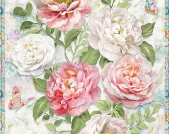 Wild Blush Fabric -Main Panel - Peony Rose - Danhui Nai - Wilmington Fabrics - 89216 134 - Priced by the 24-Inch Panel