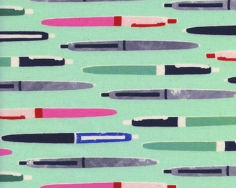 Cotton and Steel - Ball Point Pen fabric - Trinket by Cotton and Steel - priced by the half yard - 0035 2 Aqua