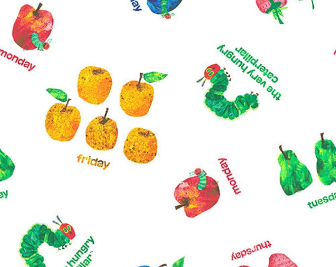 Featured listing image: Caterpillar Daily Food Fabric, Days of the Week - Very Hungry Caterpillar by Eric Carle for Andover Fabrics 7233 X Priced by the half yard