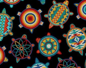 Tucson Turtle - Beaded Print Design - Southwest Fabric by Elizabeth Studio 526 Black - Priced by the half yard