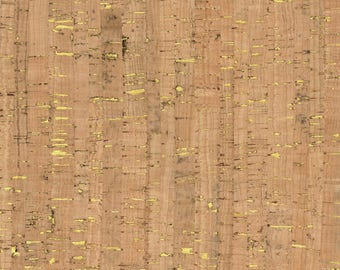 Cork Fabric, Gold Fleck Natural Cork Fabric, Cork Leather, Stitchable Cork, Leather Alternative - Windham