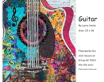 """Guitar Collage - Laura Heine - Applique Quilt -  23""""x36""""  - DIY Pattern Or Kit Option - full size reusable template"""