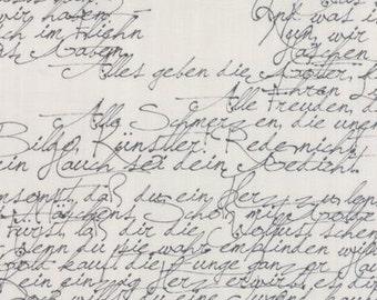Modern Background Fabric -  Basic Handwriting Zen Chic for Moda 1580 25 Black Fog - Priced by the 1/2 yard