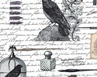 Nevermore Raven & Text Fabric - Edgar Allen Poe Nevermore by Gillian Fullard - for Michael Miller DC5525 White DC 5525 - Priced by 1/2 yard