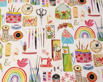 Create & Hobby fabric by Kate Mason - 3 wishes fabric 16008 white - Priced by the half yard