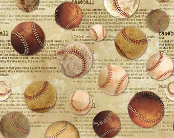 Vintage Sports Baseballs Timeless Treasures C6006 - Priced by the Half yard