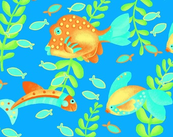 Comfy Flannel - Gold Fish - Cotton Flannel - AE Nathan -  0983 77 Blue - Priced by the half yard