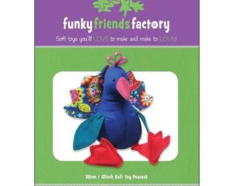 Peacock Stuffed Toy Pattern - Funky Friends Factory designed by Pauline - Punju Peacock 4392 - DIY Pattern