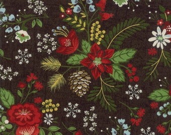 Christmas Fabric - Winter Floral - Pine cone -  Winter Village - Moda 30550 17 Coal - Priced by the half yard
