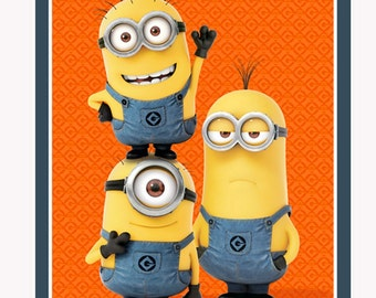 Minion Quilt Fabric - 1 in a Minion Panel from Quilting Treasures - 23988 Orange - 36 inch panel