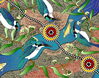 Australian Fabric - Bird Print - Aboriginal Fabric - Nambooka -  Kingfisher - Ecru / Blue - Priced by the half yard
