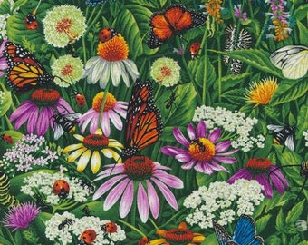 Frolicking Fields - Meadow - Floral Meadow - Butterfly - Paintbrush Studio - 120 15111 - Priced by the 1/2 yard