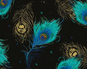 Falling Peacock Feather - Moonlight Plume - Peacock accent - Chong-a Hwang Timeless Treasures CM6410 Black - Priced by the 1/2 yard