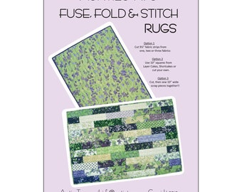 """Fuse Fold and Stitch Rugs Aunties Two - AT634 -  Single Sided Fusible Project - DIY Pattern - Finishes 40""""x25"""""""